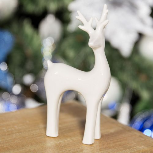 White Ceramic Christmas Reindeer Figurine Modern Minimalist Decoration